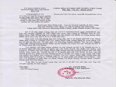 Thanh tra Sở Y tế TP HCM sẽ giám sát việc kinh doanh của Công ty TNHH TM & DV Ngọc Phúc Đắk Nông