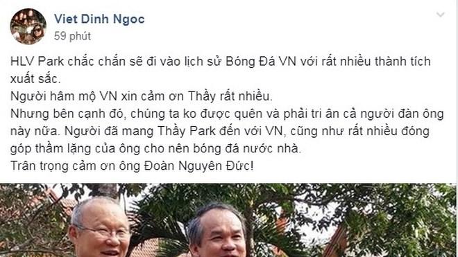 Dân mạng thả nghìn like cho bầu Hiển, bầu Đức sau trận thắng của tuyển Việt Nam