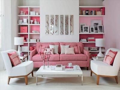 Tiết lộ bí kíp trang trí phòng khách độc đáo cho người thích màu hồng