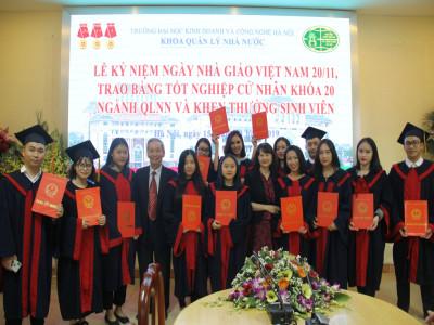 Khoa Quản lý Nhà nước (ĐH KInh doanh và Công nghệ HN) trao bằng tốt nghiệp cử nhân khoá 20