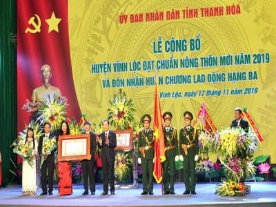 Huyện Vĩnh Lộc (Thanh Hóa) đón nhận bằng đạt chuẩn Nông thôn mới và Huân chương Lao động hạng Ba