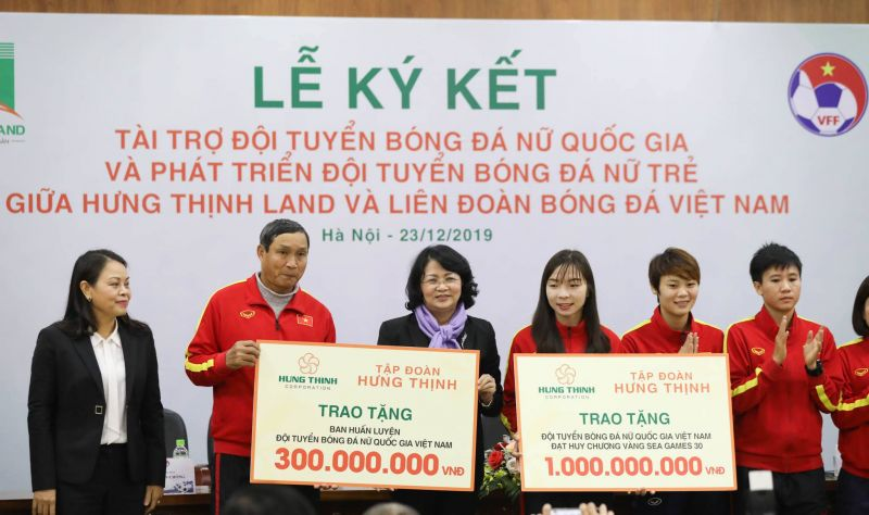 Hưng Thịnh Land tài trợ 100 tỷ đồng cho Đội tuyển bóng đá nữ