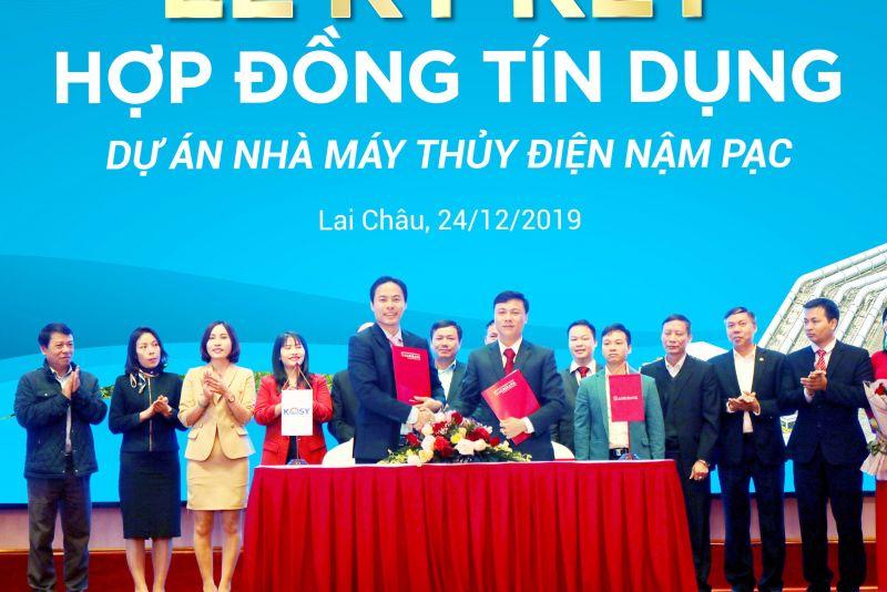 Ngân hàng Agribank Lai Châu ký hợp đồng tín dụng cho cụm nhà máy thủy điện Nậm Pạc của Kosy Group