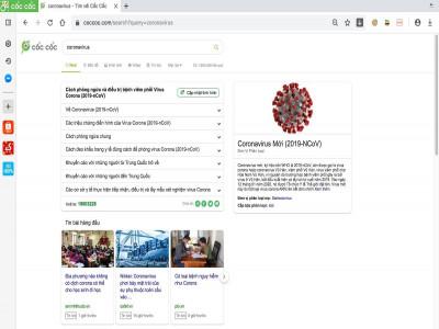 Trình duyệt Cốc Cốc triển khai thiết lập trang thông tin tổng hợp về virus Corona