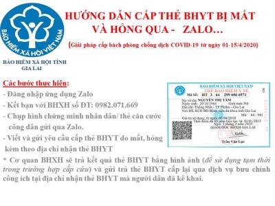 BHXH tỉnh Gia Lai thực hiện cấp thẻ BHYT qua mạng xã hội Zalo trong thời gian cách ly xã hội