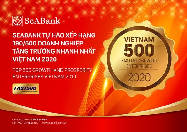 Ngân hàng TMCP Đông Nam Á (SeABank) tăng hạng vượt bậc, đứng 190/500 trong Bảng xếp hạng FAST500