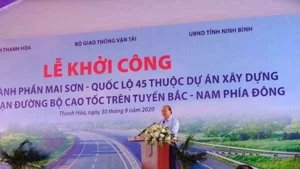 Thanh Hóa: Thủ tướng dự lễ Khởi công Dự án cao tốc thành phần Mai Sơn- Quốc lộ 45