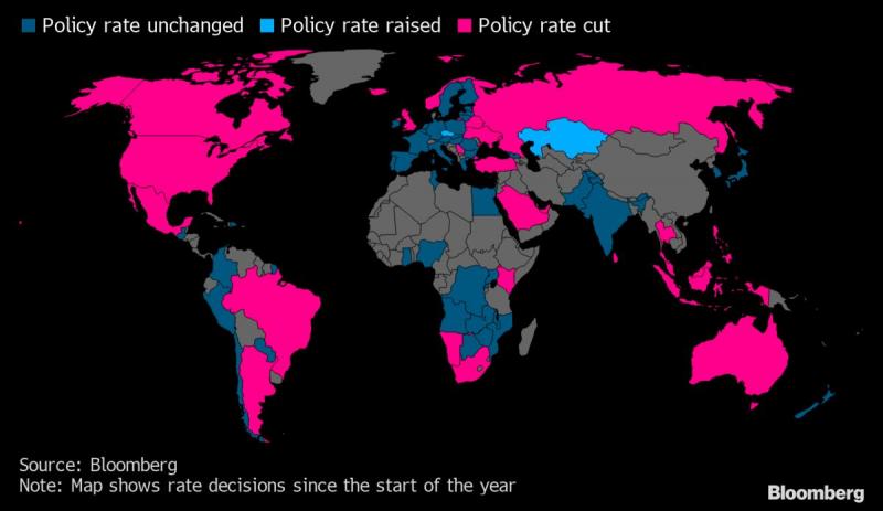 Các quốc gia giữ nguyên, tăng hoặc giảm lãi suất trên thế giới.