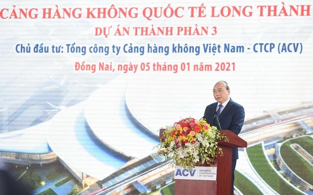 Thủ tướng Chính phủ Nguyễn Xuân Phúc phát biểu tại lễ khởi công - ảnh Báo Chính Phủ
