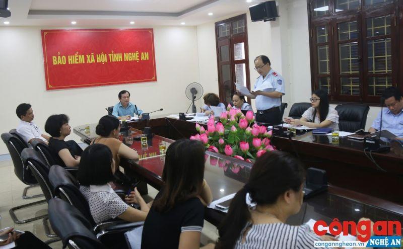 Đoàn Thanh tra liên ngành BHXH Nghệ An báo cáo kết quả công tác thanh tra tại các đơn vị sử dụng lao động