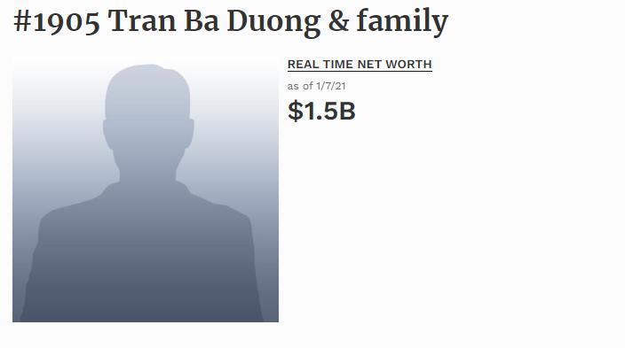 Ông Trần Bá Dương có mặt trong danh sách các tỷ phú giàu nhất thế giới.