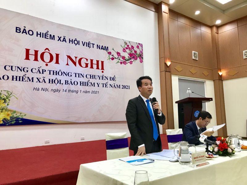 Ông Nguyễn Thế Mạnh, Tổng Giám đốc BHXH Việt Nam phát biểu tại Hội nghị