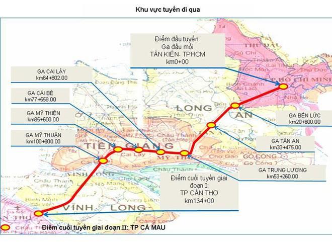 Tuyến đường sắt TP. Hồ Chí Minh - Cần Thơ theo bản đồ quy hoạch