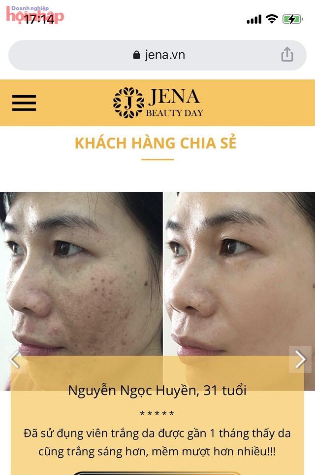 Website đăng tải các nhân vật tiết lộ sau khi sử dụng sản phẩm Jena Beauty Day và số số lời phản hồi của người sử dụng (Ảnh chụp màn hình)