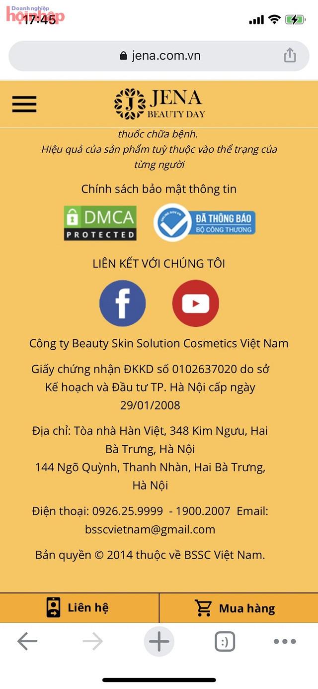 Hai ảnh chụp màn hình 2 website: jena.vn và jena.com.vn đều ghi đã thông báo với Bộ Công thương chụp ngày 18/01/2021 và click đều không có thông tin, cũng ghi rõ số đăng ký kinh doanh không phải của Công ty Beauty skin solution cosmetics Việt Nam