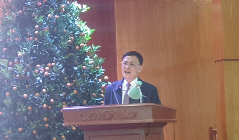 Ông Lê Văn Cường,Phó chủ tịch phụ trách UBND huyện An Dương phát biểu tại hội nghị tiếp xúc DN trên địa bàn