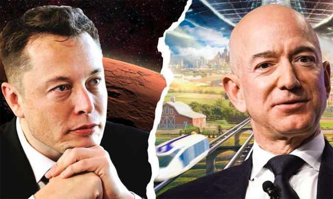 Elon Musk 'cà khịa' Jeff Bezos