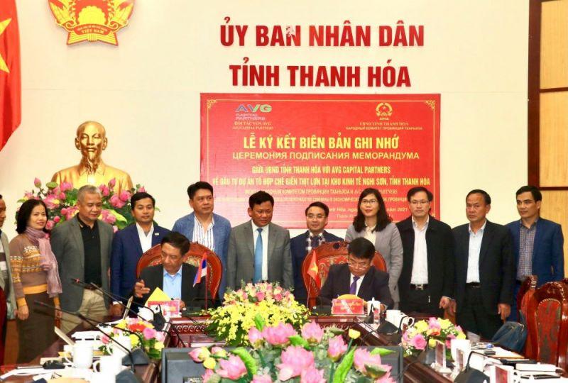 Lễ ký kết và trao biên bản ghi nhớ về triển khai dự án tổ hợp chế biến thịt heo tại Khu Kinh tế Nghi Sơn, tỉnh Thanh Hoá