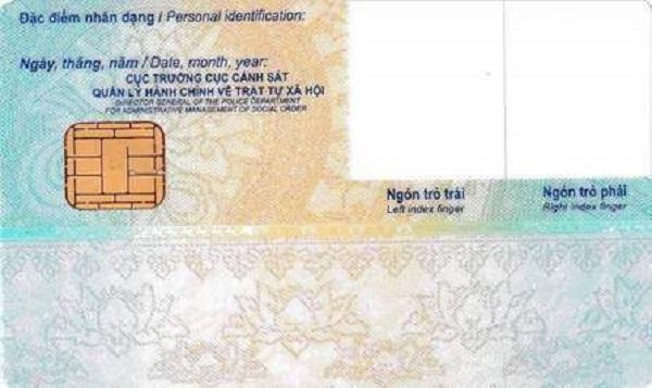 Hình ảnh mặt sau của Thẻ Căn cước công dân gắn chip điện tử
