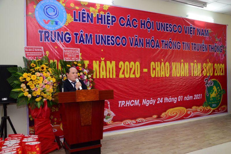 ông Phạm Đình Vương - Giám đốc Trung tâm UNESCO Văn hóa & Thông tin truyền thông, phát biểu tại Lễ tổng kết