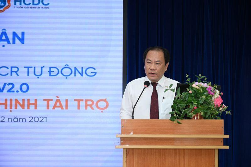Bác sĩ. Nguyễn Hoài Nam bày tỏ lời cảm ơn đến Tập đoàn Hưng Thịnh vì đã chung tay cùng Thành phố và ngành Y tế trong công tác phòng, chống dịch Covid-19