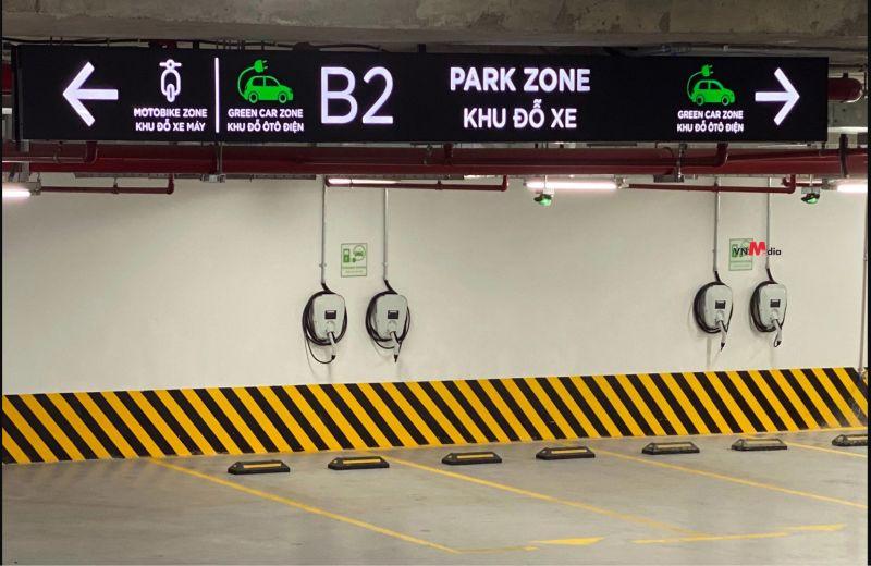 bãi đỗ dành cho xe điện tại một khu đô thị của Vinhomes, Hà Nội. (Ảnh: VnMedia).