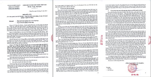 Đơn kêu cứu của Công ty Cổ phần Vũng Tàu Marina gửi Hiệp hội Doanh ghiệp nhỏ và vừa Việt Nam, Tạp chí Doanh nghiệp và Hội nhập.