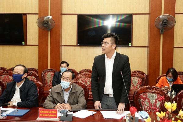 Đại diện Ngân hàng TMCP Đầu tư và Phát triển Việt Nam Chi nhánh Thanh Hóa phát biểu ý kiến tại hội nghị.
