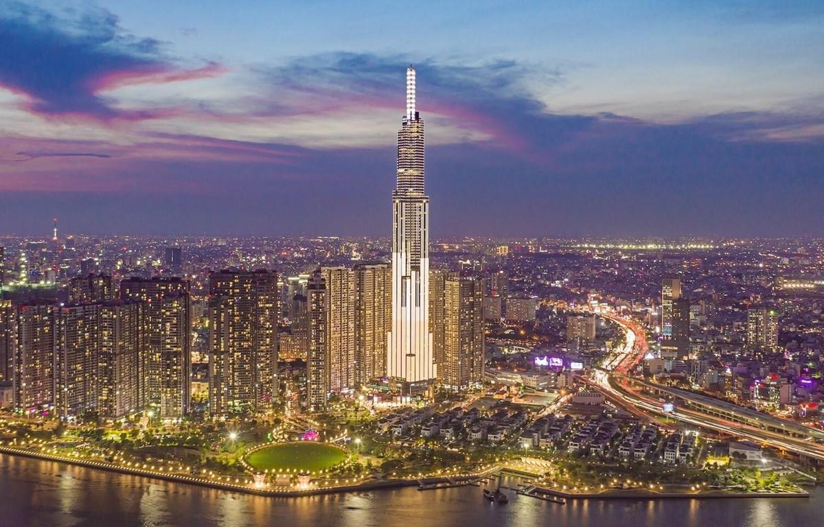 Toàn cảnh tòa nhà Landmark 81 tại Thành phố Hồ Chí Minh, biểu tượng cho sự phát triển năng động của Việt Nam. (Ảnh: TTXVN)