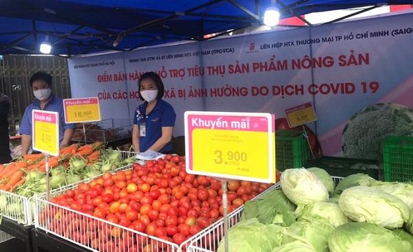 Gian hàng bán nông sản Hải Dương của Co.opmart Hà Nội mới triển khai tại trụ sở Liên minh HTX TP Hà Nội