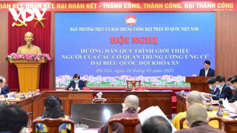 Hội nghị hướng dẫn quy trình, thủ tục giới thiệu người ứng cử đại biểu quốc hội khóa XV của các cơ quan Trung ương.