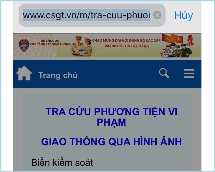 Website của Cục Cảnh sát giao thông