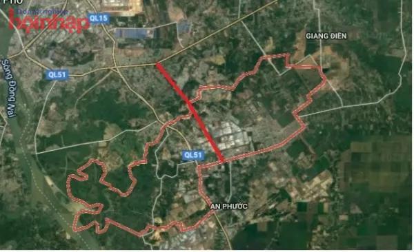 Vị trí cao tốc Biên Hòa - Vũng Tàu đoạn qua phường Tam Phước (đường màu đỏ)