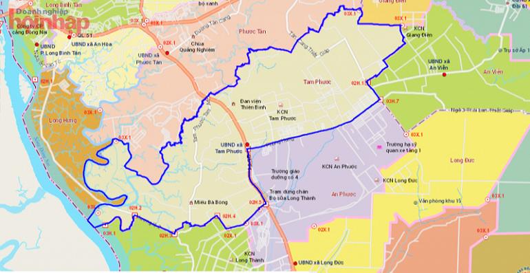 vị trí Tam Phước, thành phố Biên Hòa trên bản đồ