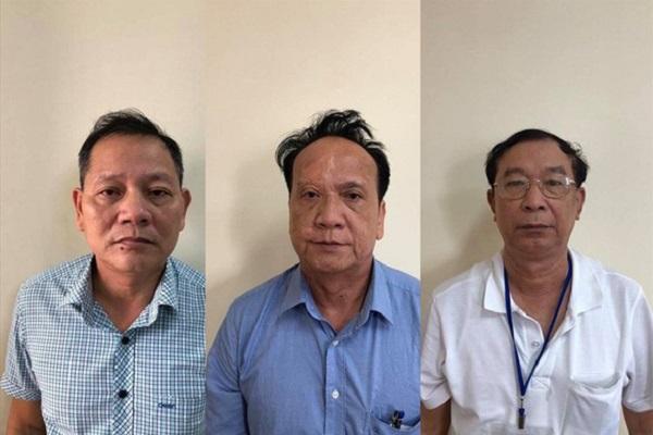 Ba bị can (từ trái qua): Nguyễn Thái Thanh; Lê Văn Trang và Võ Thanh Bình Bộ Công an