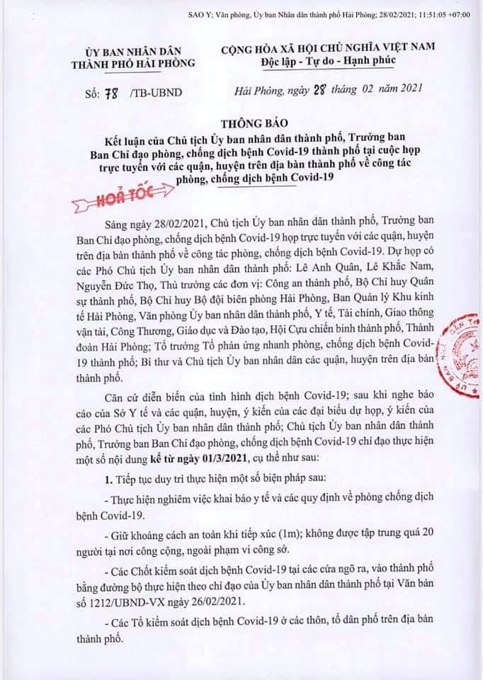 Thông báo kết luận của Chủ tịch UBND TP ngày 28/02 về việc triển khai biện pháp chống dịch từ ngày 01/03/2021.