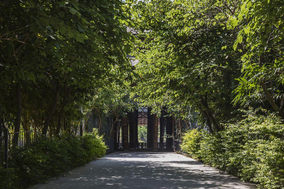 Người dùng có thể cảm nhận không gian trong nhà và ngoài nhà cùng lúc, cảm nhận không gian bên trong của cấu trúc tre và không gian núi rừng, hồ nước bên ngoài.