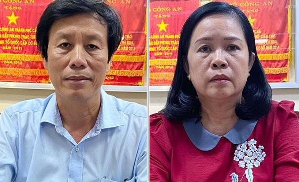Các đối tượng bị khởi tố (từ trái sang phải) Cao Minh Thu và Bùi Thị Lệ Phi