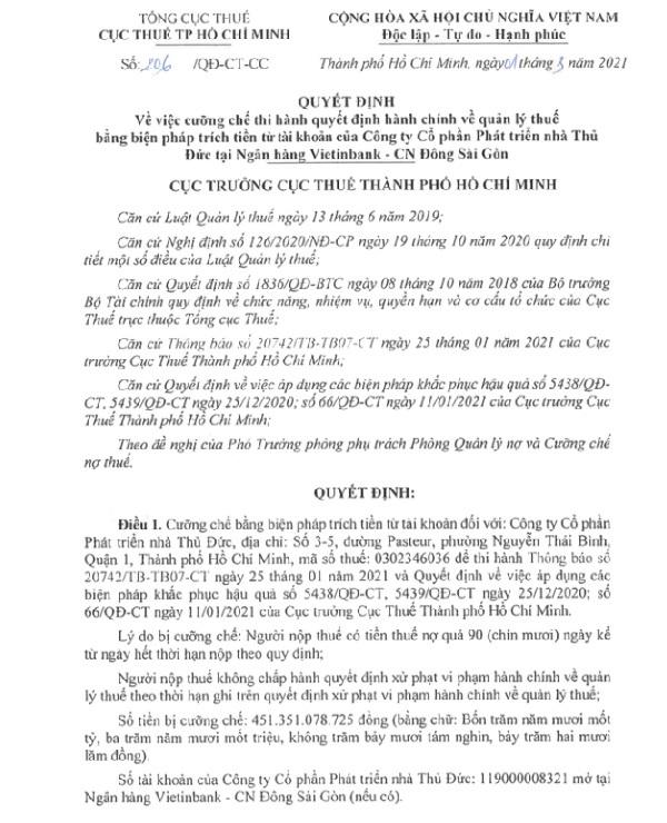 Quyết định cưỡng chế thuế của Cục Thuế TP . Hồ Chí Minh