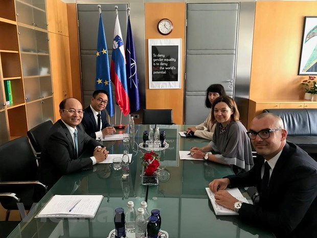 Đại sứ Việt Nam tại Áo kiêm nhiệm Slovenia Lê Dũng gặp Thứ trưởng Ngoại giao Slovenia. (Nguồn: Đại sứ quán Việt Nam tại Slovenia)