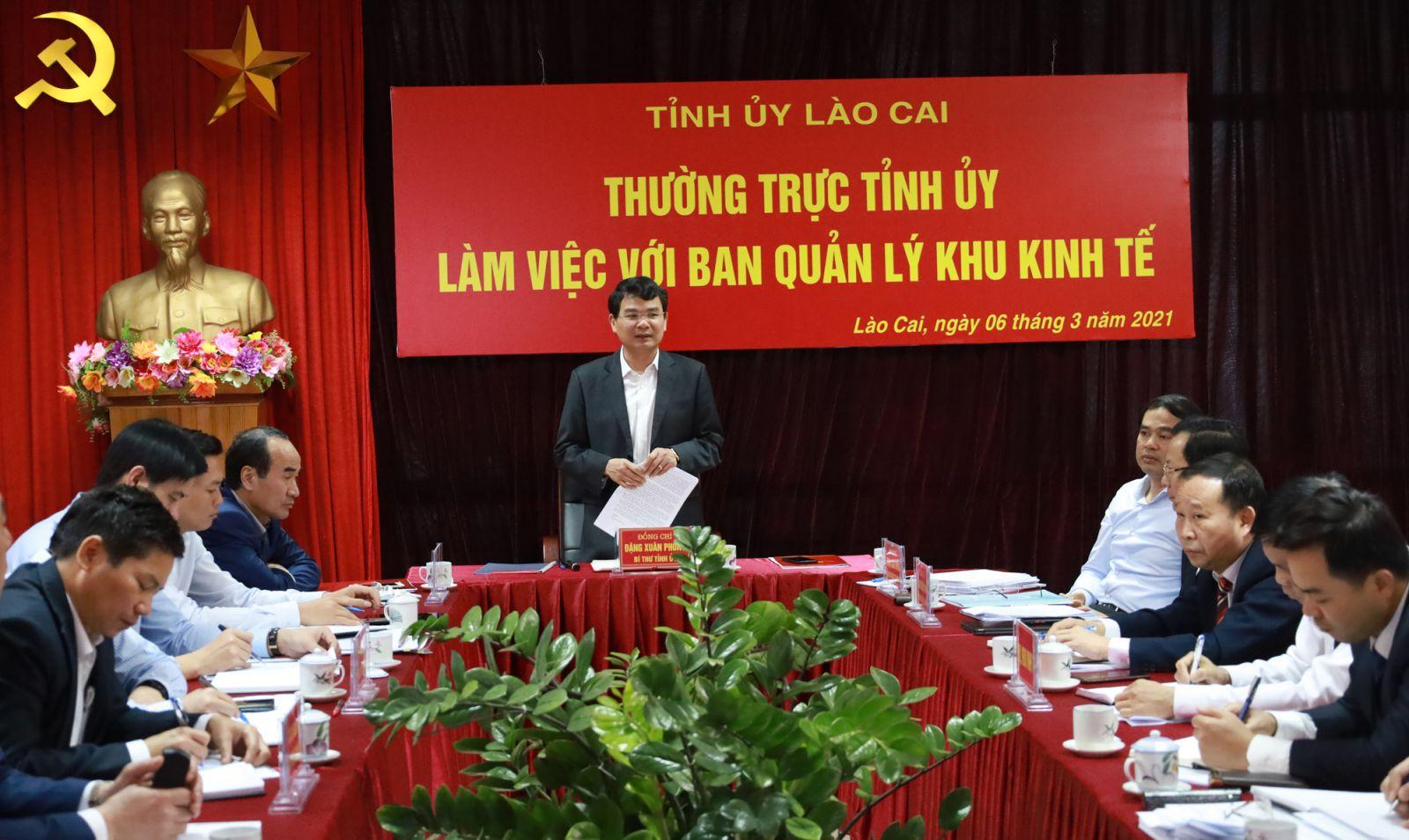 Lào Cai: Thường trực Tỉnh uỷ làm việc với Ban Quản lý Khu Kinh tế tỉnh
