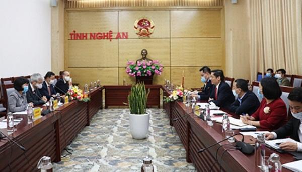Cơ quan Hợp tác Nhật Bản làm việc với tỉnh Nghệ An về chương trình hợp tác năm 2021
