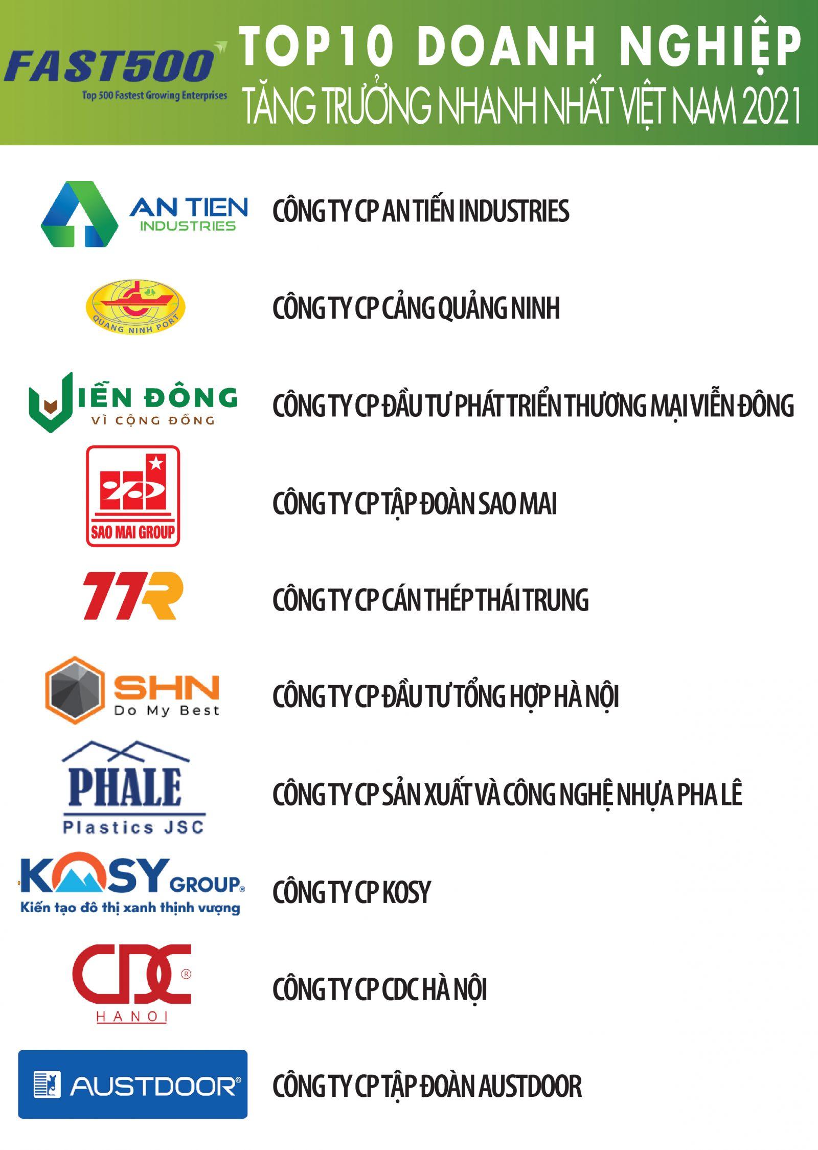 Danh sách Top 10 của Bảng xếp hạng FAST500 năm 2021 (Nguồn: Vietnam Report)