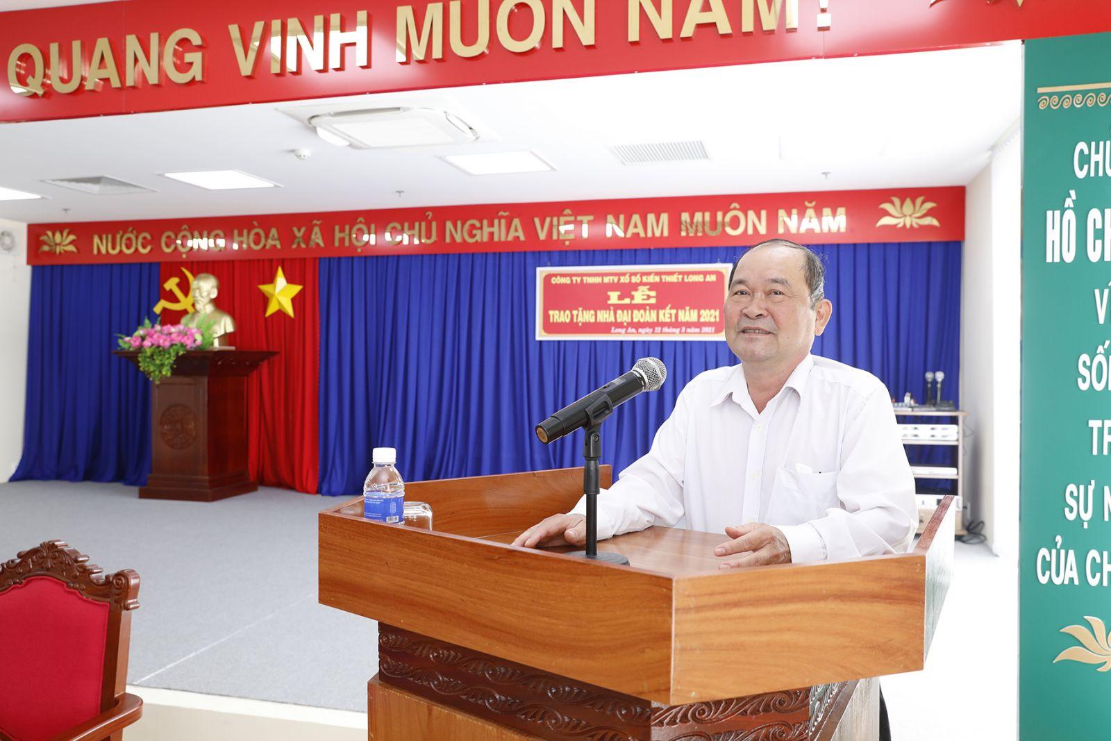Ông Võ Văn Truyền Chủ tịch Công ty Xổ số Long An phát biểu