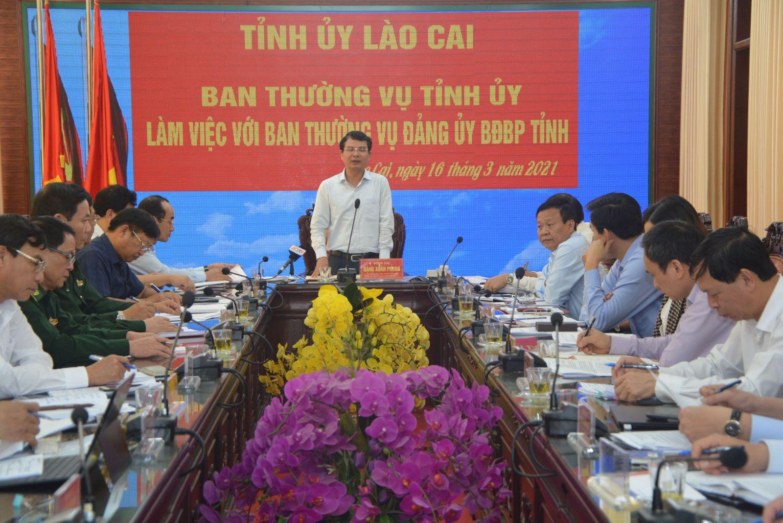 Lào Cai: Ban Thường vụ Tỉnh ủy làm việc với Ban Thường vụ Đảng ủy Bộ đội Biên phòng tỉnh