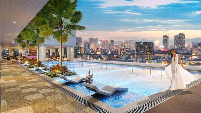 Bể bơi của BRG Diamond Residence có chiều dài chuẩn Olympic