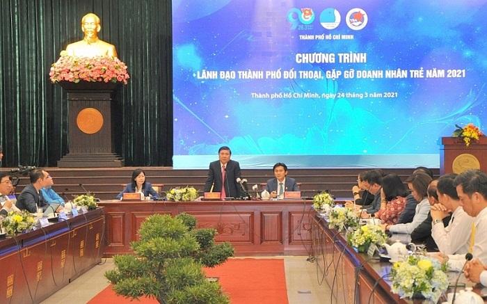 """Lãnh đạo TP. Hồ Chí Minh tại Chương trình """"Lãnh đạo thành phố đối thoại, gặp gỡ doanh nhân trẻ năm 2021"""""""