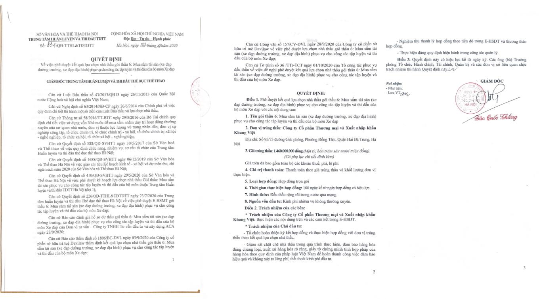 Quyết định số 331/QĐ-TTHL&TĐTDTT ngày 02/10/2020 do Giám đốc Đào Quốc Thắng ký phê duyệt.