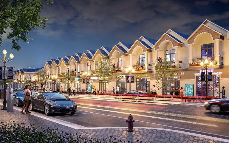 Phối cảnh dãy phố thương mại sầm uất của dự án