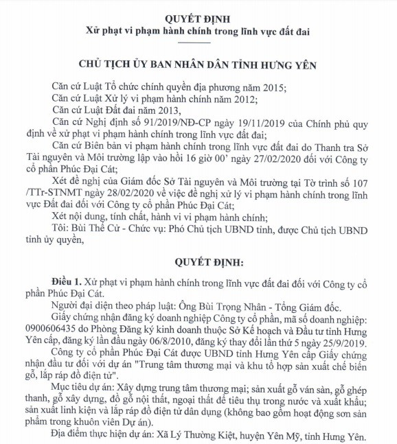 Quyết định xử phạt với Công ty CP Phúc Đại Cát